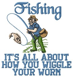 Fishing Worm embroidery design