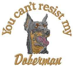 Resist Doberman embroidery design