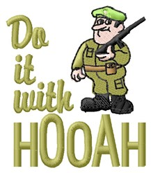 With Hooah embroidery design