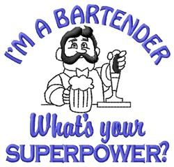 Superpower Bartender embroidery design