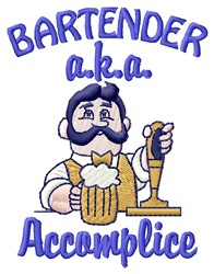 Accomplice Bartender embroidery design