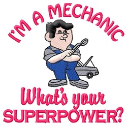 Mechanic Superpower embroidery design