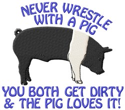 Wrestle A Pig embroidery design