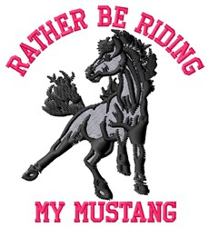 Riding Mustang embroidery design