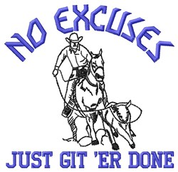 No Excuses embroidery design