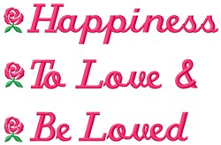 Happiness Love embroidery design