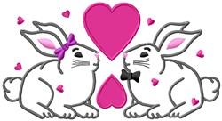 Valentine Bunnies embroidery design