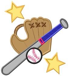 Baseball Star Applique embroidery design