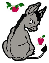 Donkey & Apples embroidery design