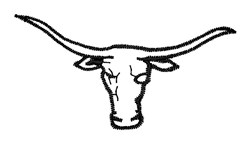 Steer Head Outline embroidery design