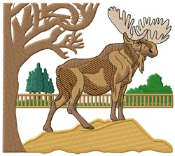 Moose Scene embroidery design