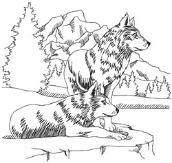 Wolf Scene embroidery design