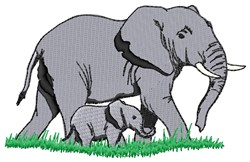 Elephants embroidery design