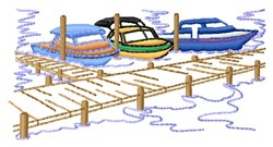 Boats At Dock embroidery design
