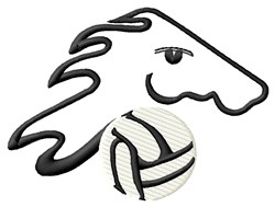 Mustang Volleyball embroidery design