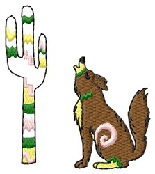 Coyote & Cactus embroidery design
