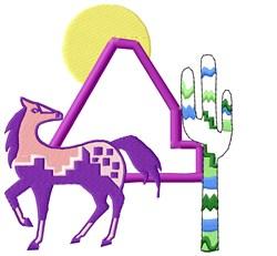 Southwest Pony Scene embroidery design