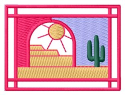 Sun & Cactus embroidery design