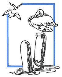 Pelican & Gulls embroidery design