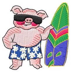 Surfing Pig embroidery design