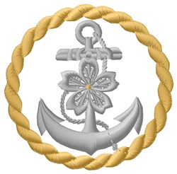 Anchor Circle embroidery design