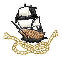 Ship  & Rope embroidery design