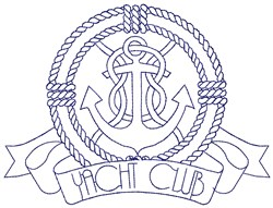 Yacht Club Outline embroidery design