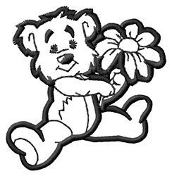 Teddy & Flower embroidery design