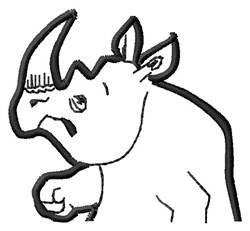 Rhinocerous Topper embroidery design