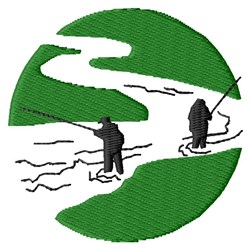 Fishermen In River embroidery design