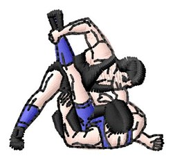 Wrestlers embroidery design
