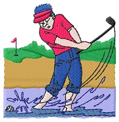 Golfer Water Trap embroidery design