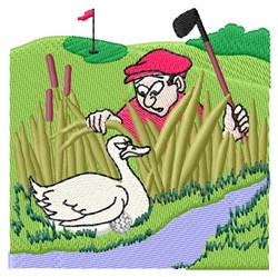 Golfer Goose embroidery design