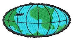 Oval Globe embroidery design