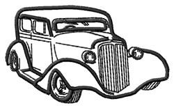 Hot Rod Outline embroidery design
