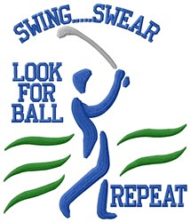Golf Lesson embroidery design