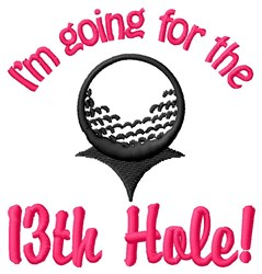 13th Hole Golf Shot embroidery design