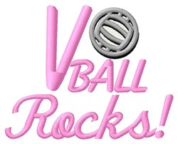 Volleyball Rocks embroidery design