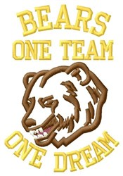 Bears One Team embroidery design