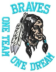 Braves One Team embroidery design