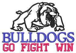 Bulldogs Go Fight Win embroidery design