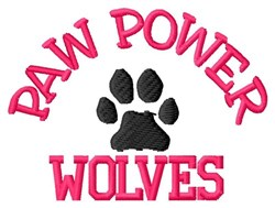 Paw Power Wolves embroidery design