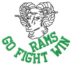 Rams Go Fight Win embroidery design