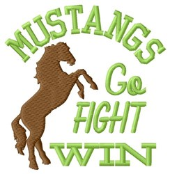 Mustangs Go Fight Win embroidery design