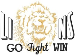 Lions Go Fight Win embroidery design