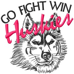 Go Fight Win Huskies embroidery design