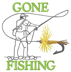 Gone Fishing With Hook embroidery design