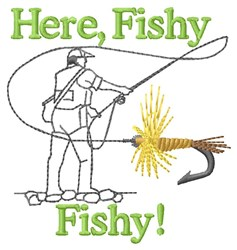 Here Fishy embroidery design