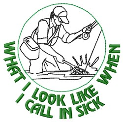 Call In Sick embroidery design