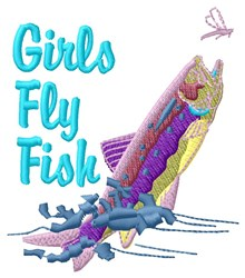 Girls Fly Fish embroidery design